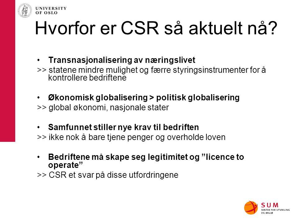 Hvorfor er CSR så aktuelt nå