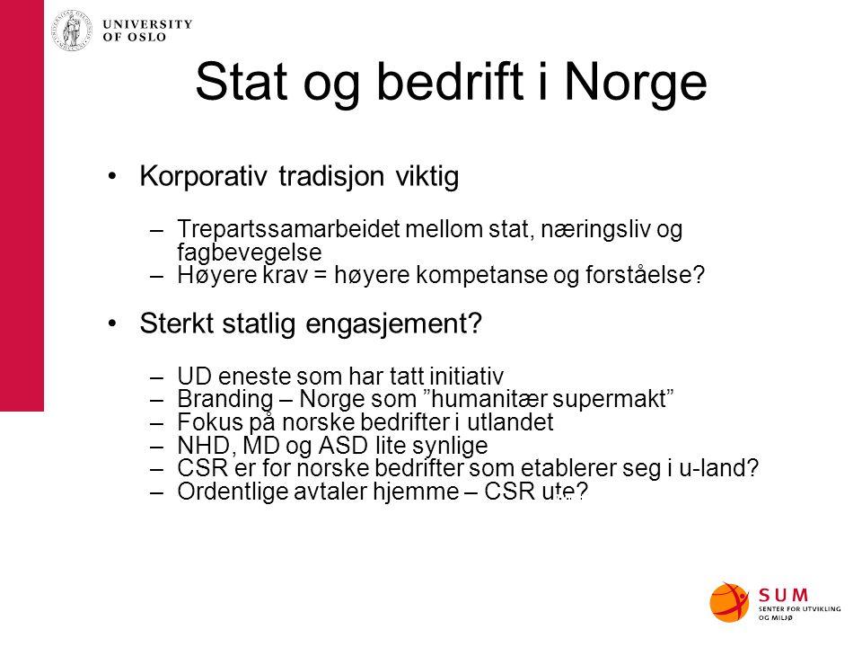 Stat og bedrift i Norge Korporativ tradisjon viktig
