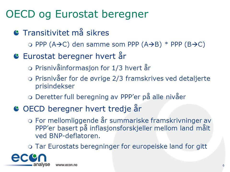 OECD og Eurostat beregner