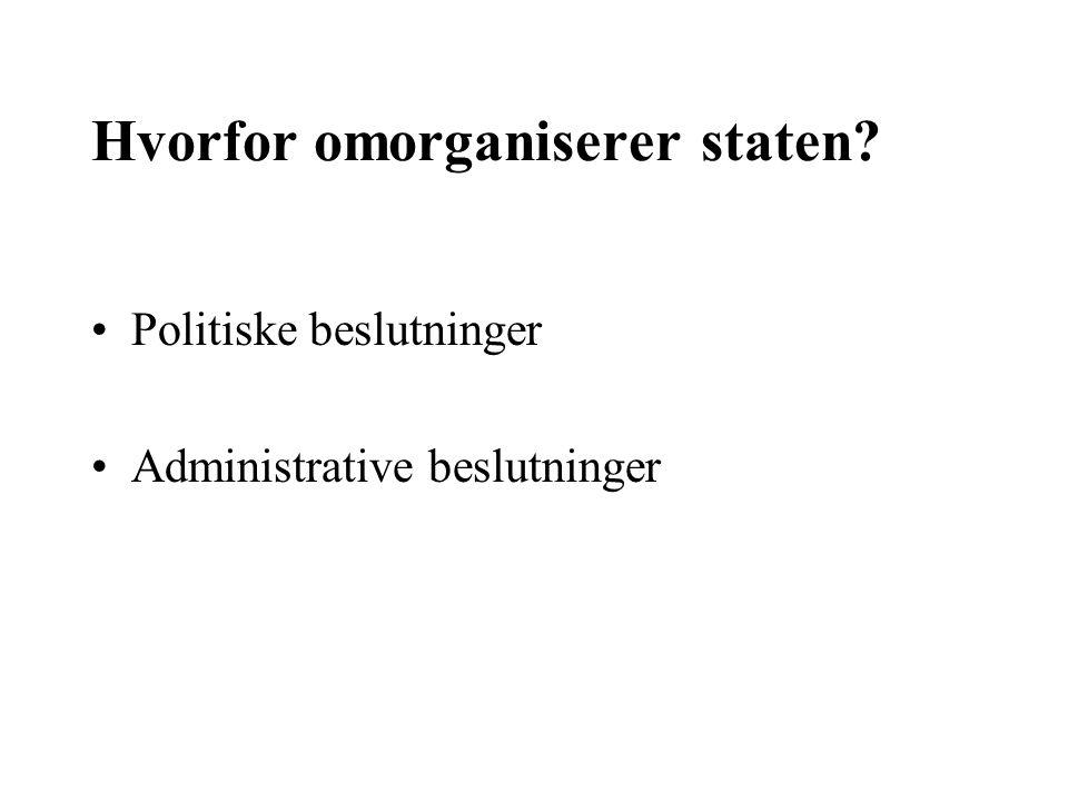 Hvorfor omorganiserer staten