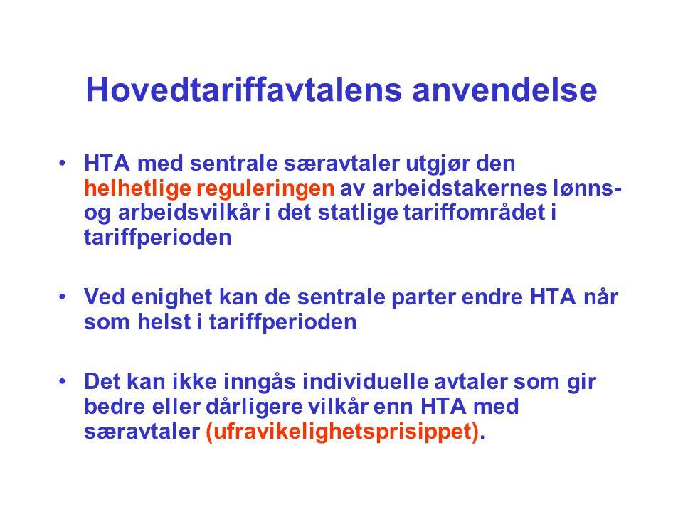Hovedtariffavtalens anvendelse