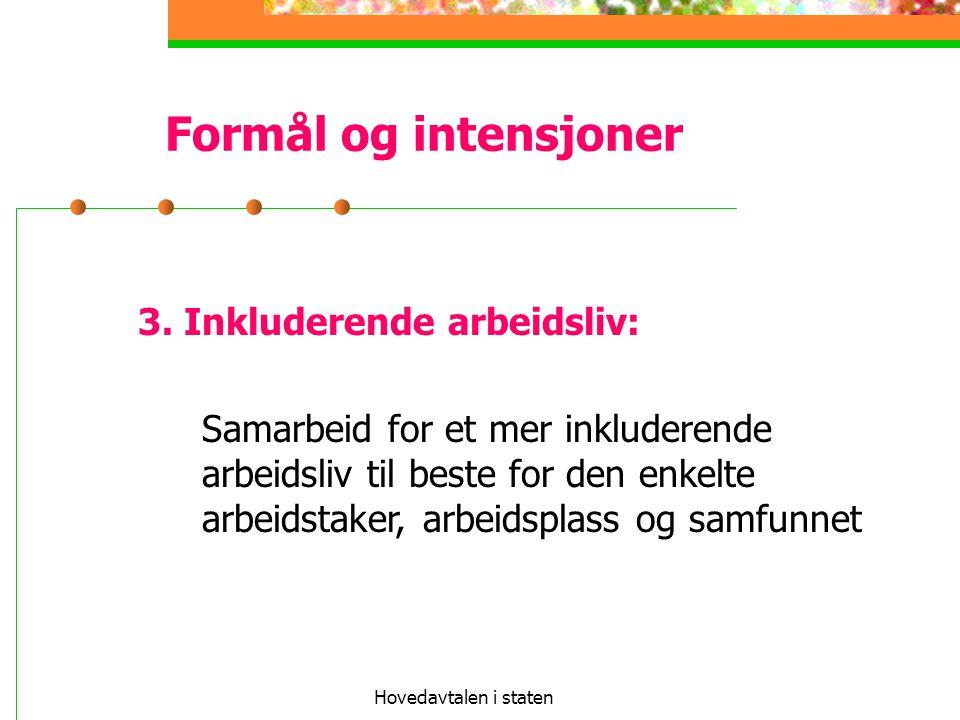 Formål og intensjoner 3. Inkluderende arbeidsliv: