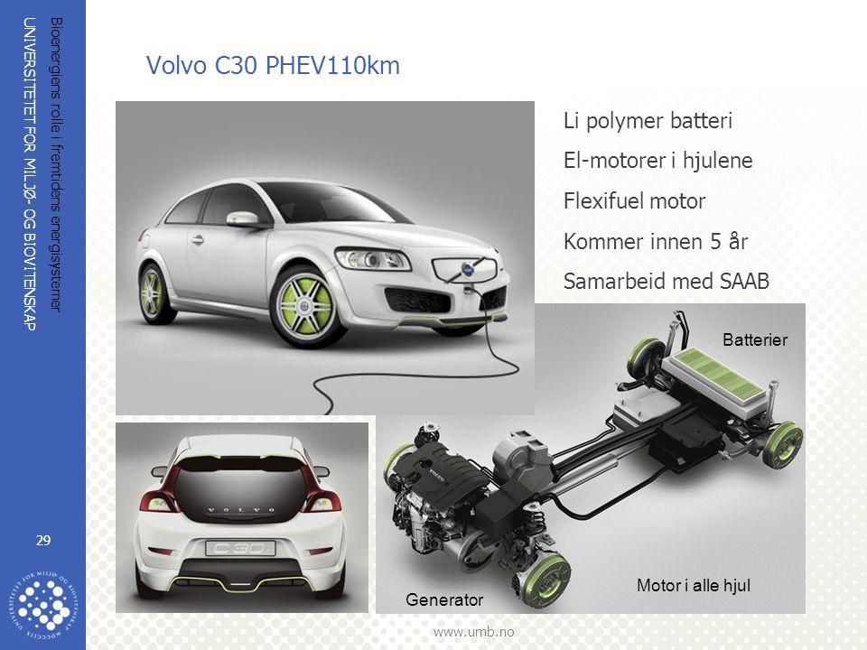 Volvo C30 PHEV110km Li polymer batteri El-motorer i hjulene