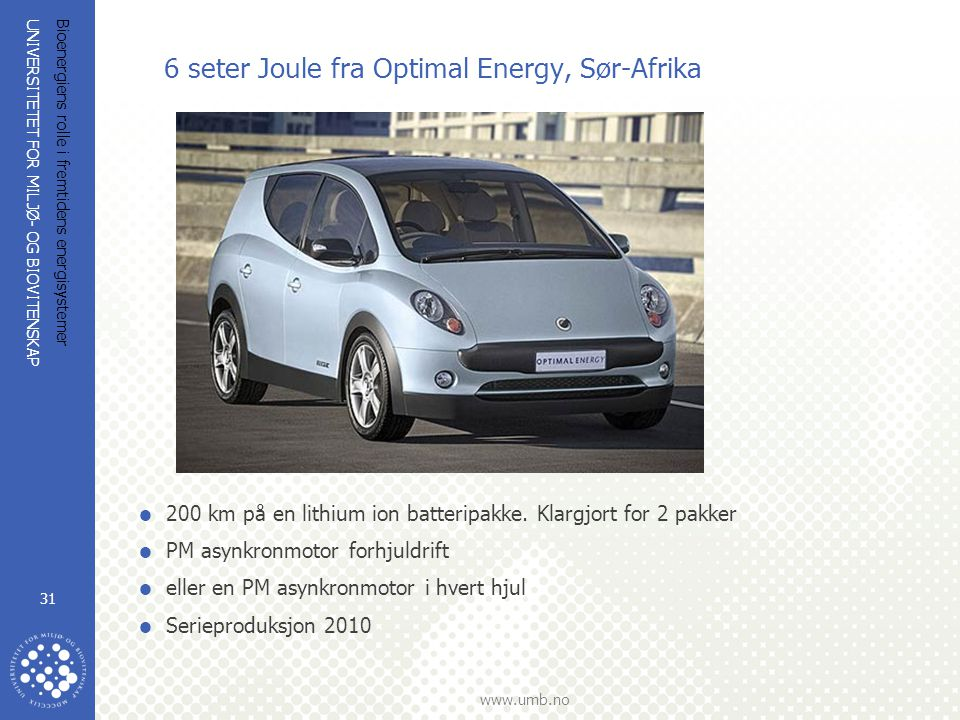 6 seter Joule fra Optimal Energy, Sør-Afrika