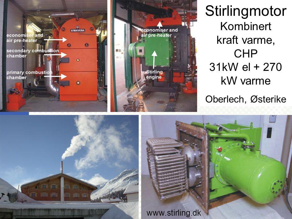 Stirlingmotor Kombinert kraft varme, CHP 31kW el + 270 kW varme