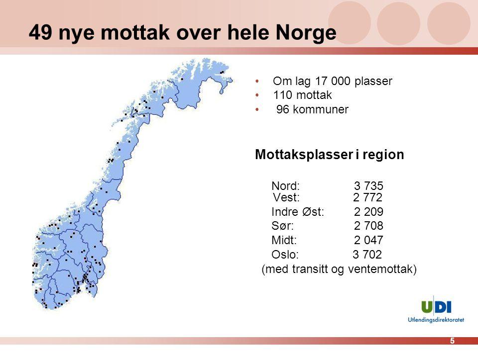 49 nye mottak over hele Norge