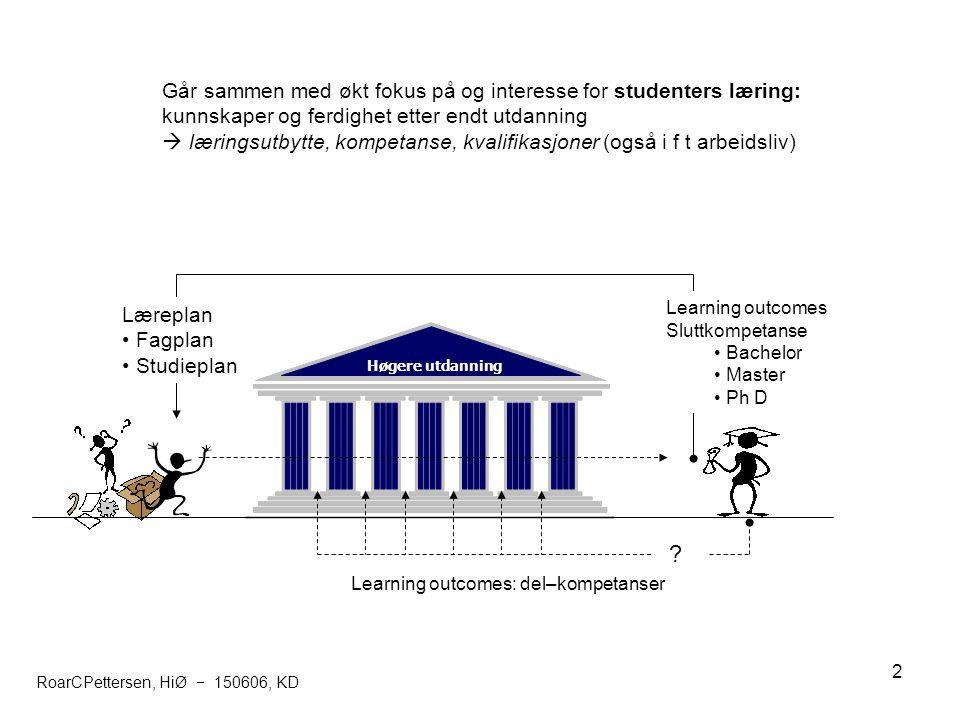 Går sammen med økt fokus på og interesse for studenters læring: