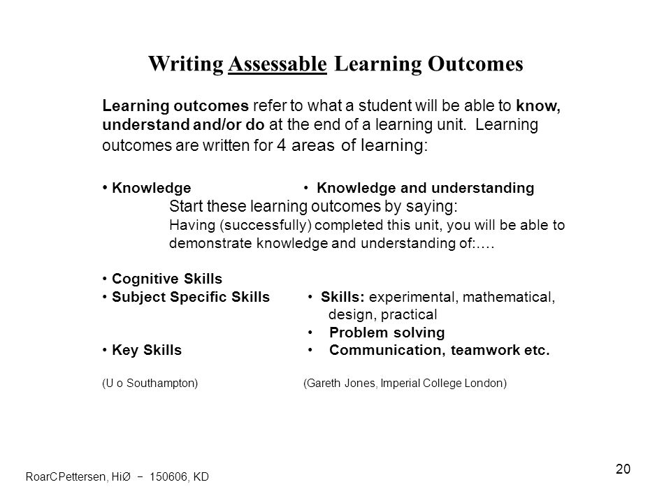 Writing Assessable Learning Outcomes