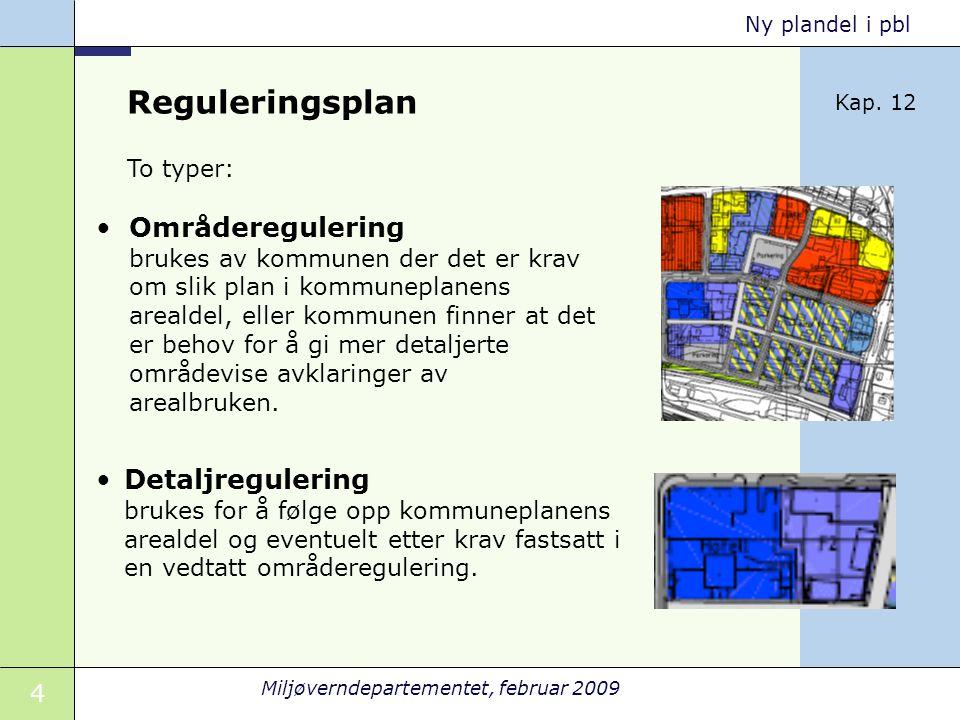 Reguleringsplan Kap. 12. To typer: