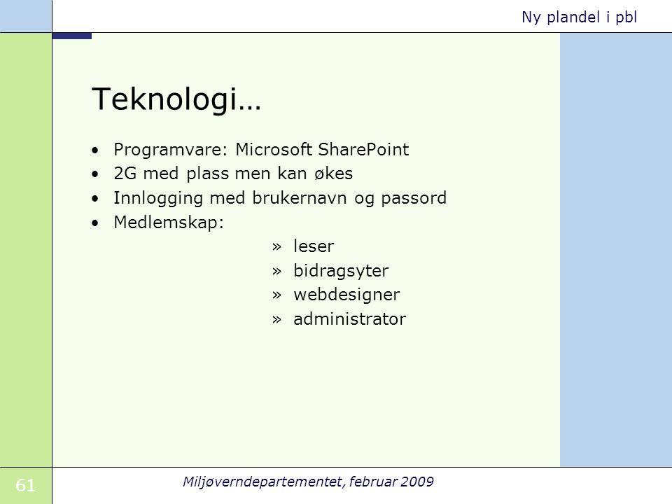 Teknologi… Programvare: Microsoft SharePoint 2G med plass men kan økes