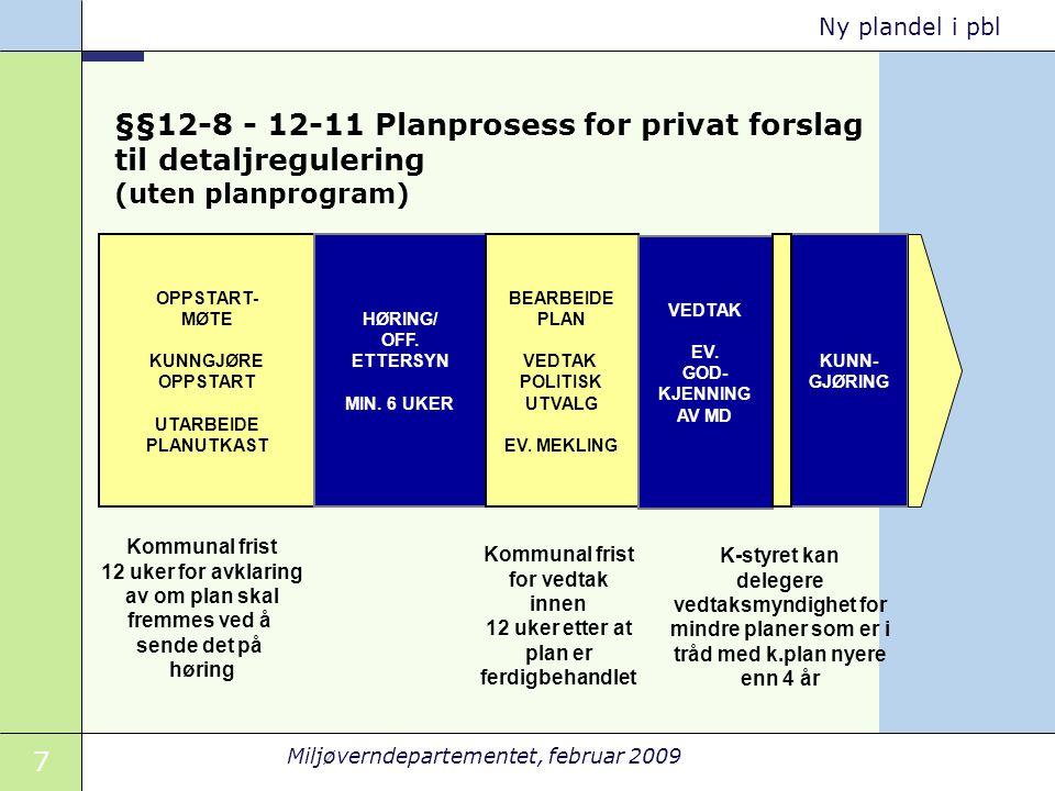 §§12-8 - 12-11 Planprosess for privat forslag til detaljregulering