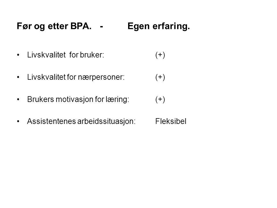 Før og etter BPA. - Egen erfaring.