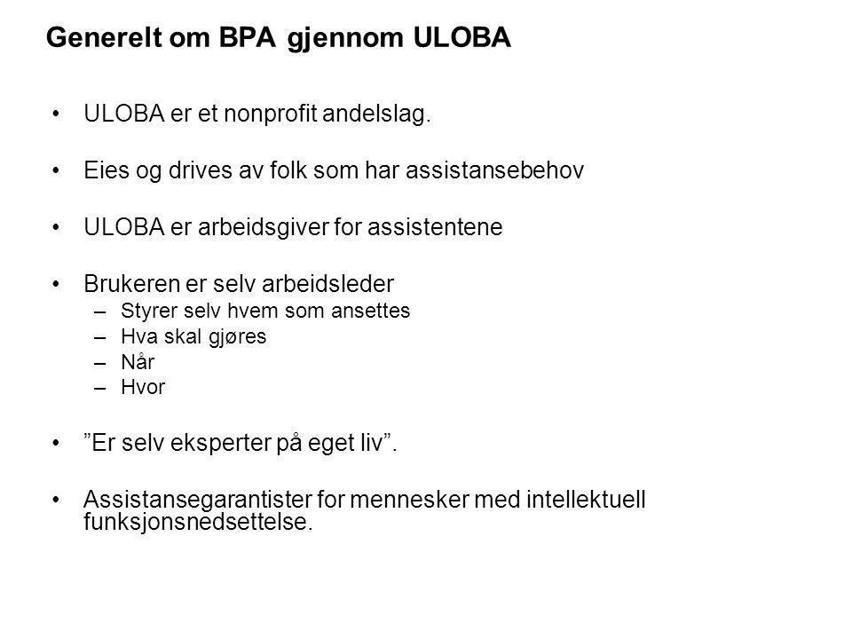 Generelt om BPA gjennom ULOBA