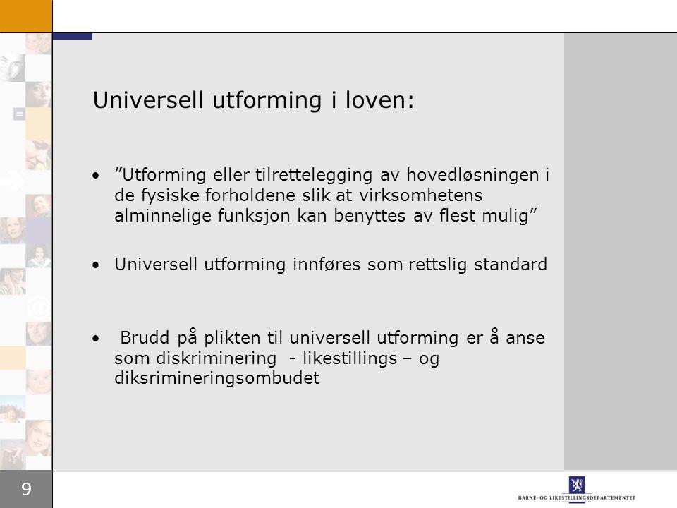 Universell utforming i loven: