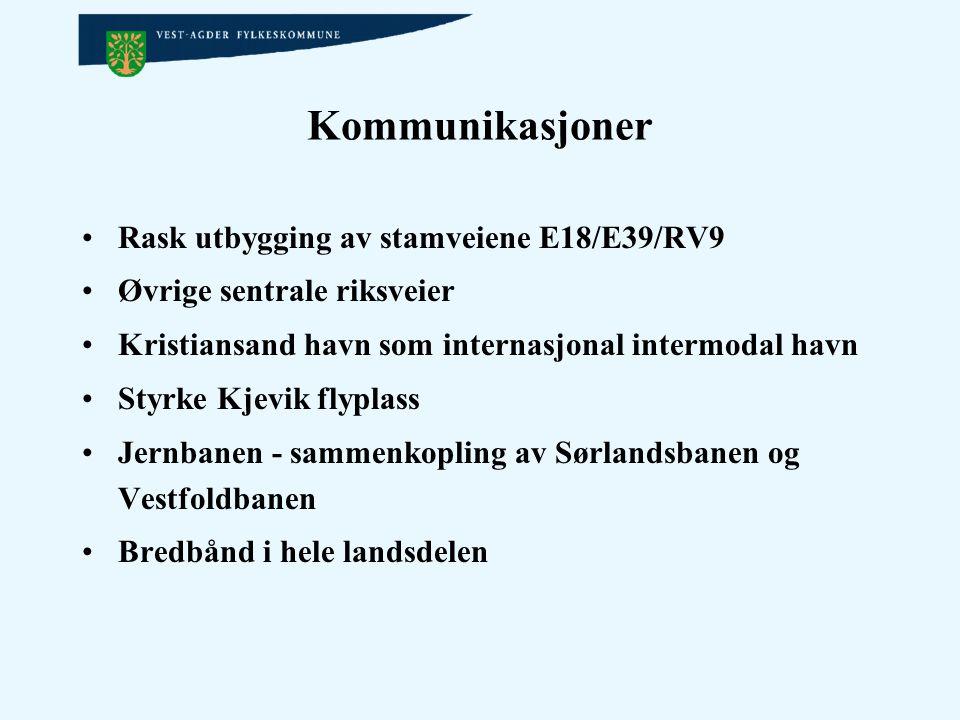 Kommunikasjoner Rask utbygging av stamveiene E18/E39/RV9