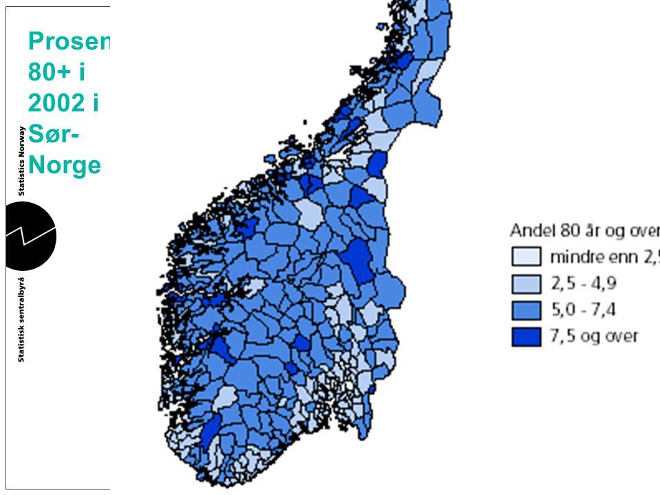 Prosent 80+ i 2002 i Sør-Norge