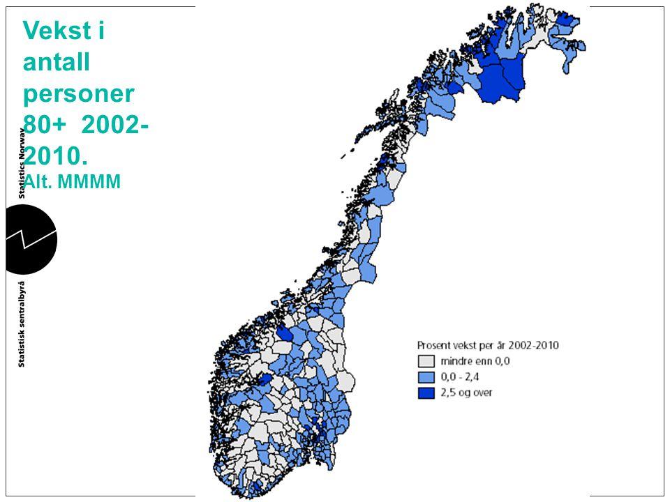 Vekst i antall personer 80+ 2002-2010.