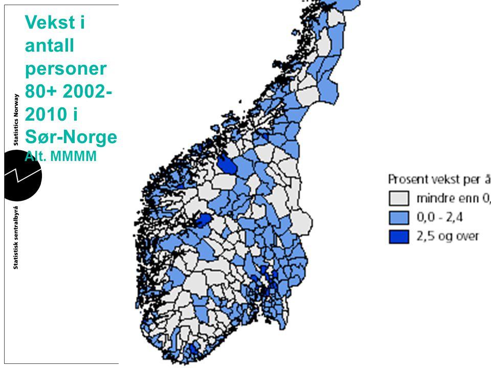 Vekst i antall personer 80+ 2002-2010 i Sør-Norge.