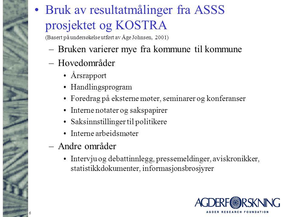 Bruk av resultatmålinger fra ASSS prosjektet og KOSTRA
