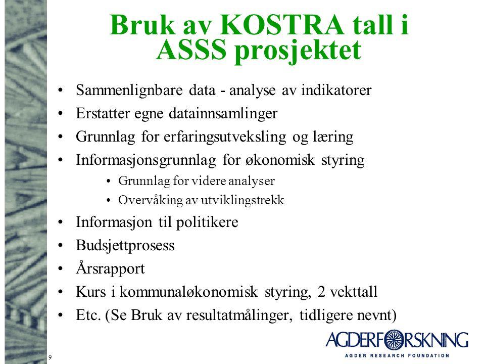 Bruk av KOSTRA tall i ASSS prosjektet