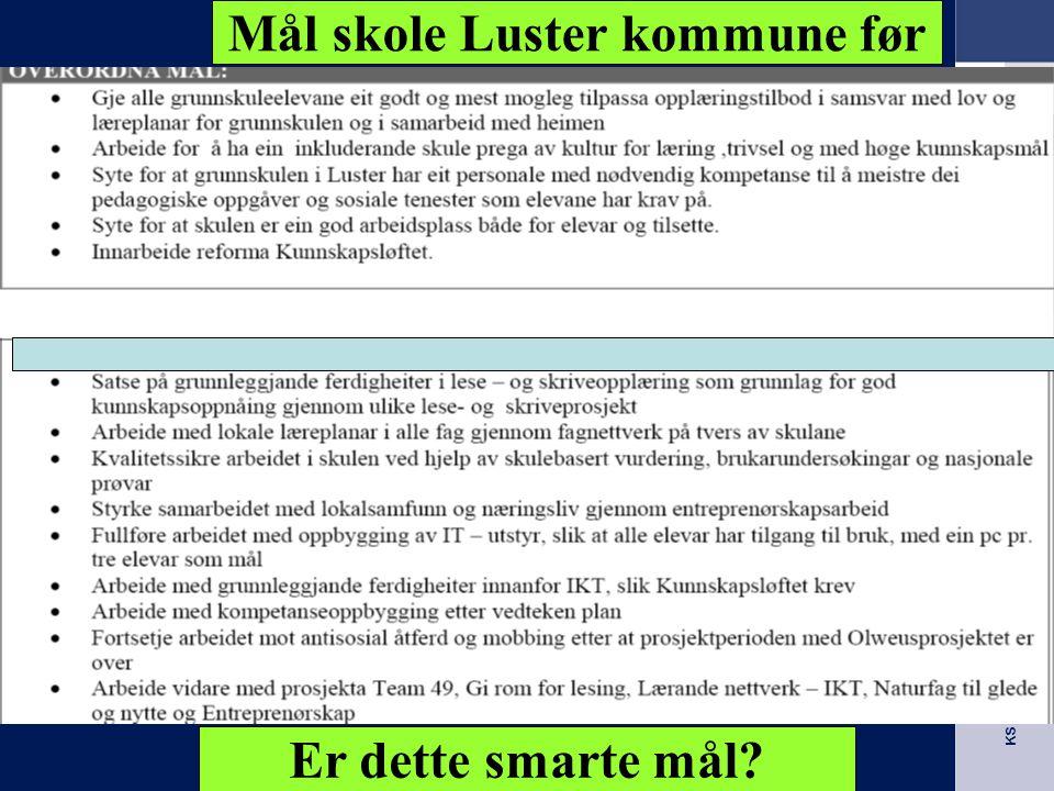 Mål skole Luster kommune før