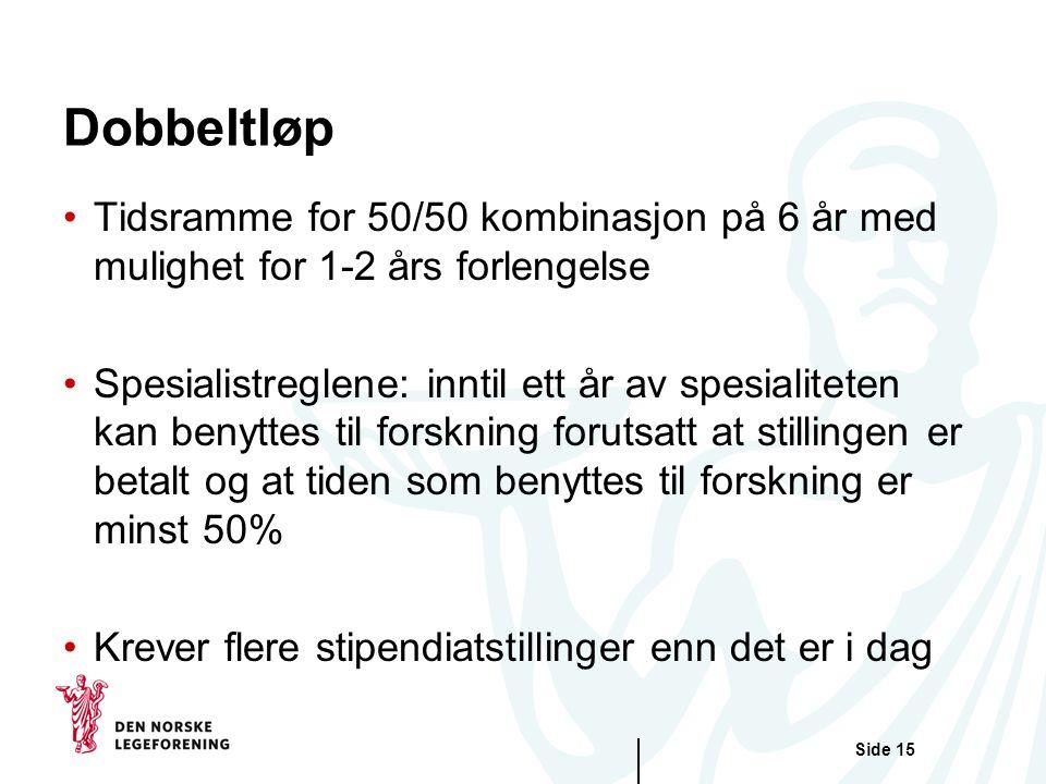 Dobbeltløp Tidsramme for 50/50 kombinasjon på 6 år med mulighet for 1-2 års forlengelse.