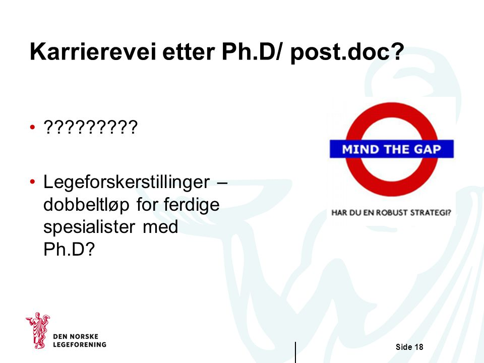 Karrierevei etter Ph.D/ post.doc