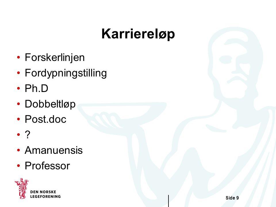 Karriereløp Forskerlinjen Fordypningstilling Ph.D Dobbeltløp Post.doc