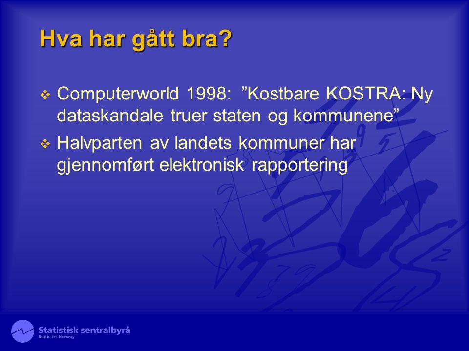 Hva har gått bra Computerworld 1998: Kostbare KOSTRA: Ny dataskandale truer staten og kommunene