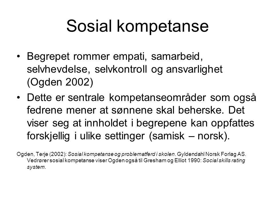 Sosial kompetanse Begrepet rommer empati, samarbeid, selvhevdelse, selvkontroll og ansvarlighet (Ogden 2002)
