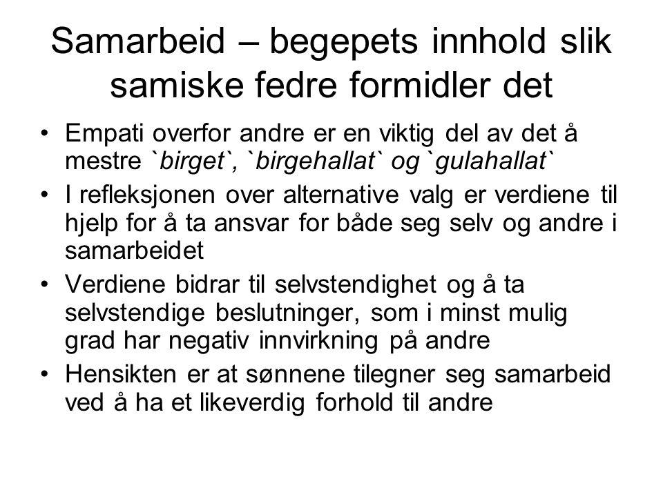 Samarbeid – begepets innhold slik samiske fedre formidler det