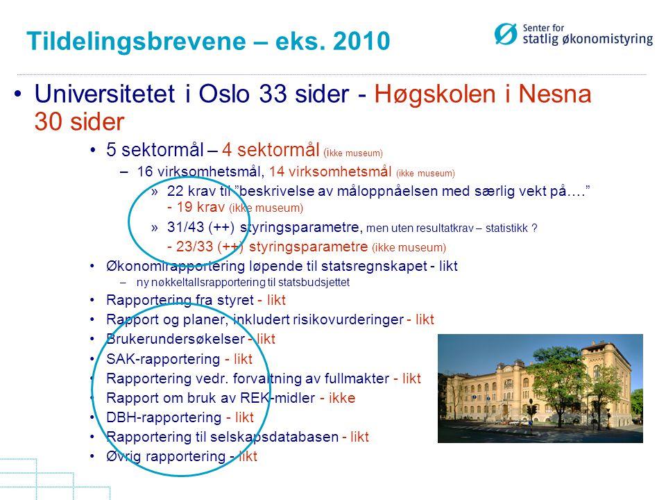 Tildelingsbrevene – eks. 2010