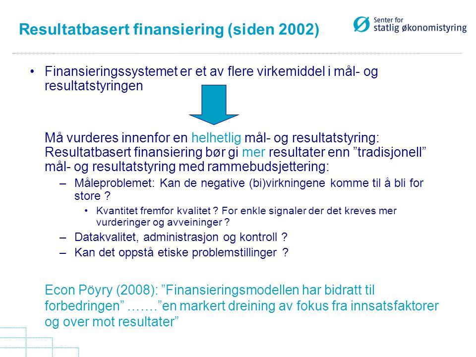 Resultatbasert finansiering (siden 2002)