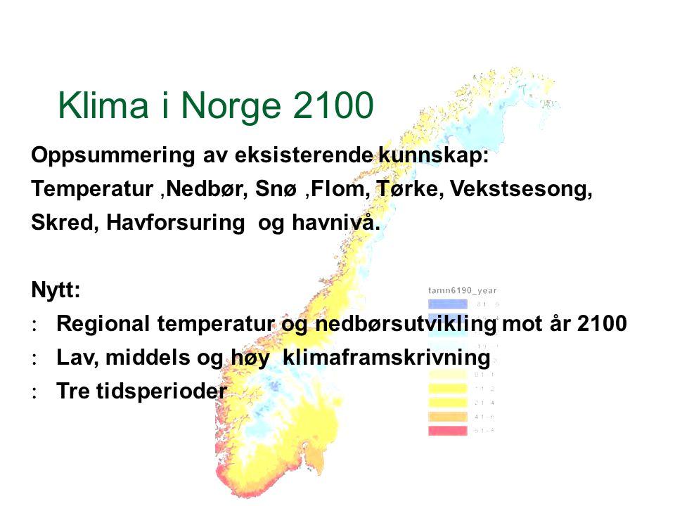 Klima i Norge 2100 Oppsummering av eksisterende kunnskap: