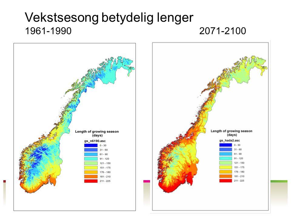 Vekstsesong betydelig lenger 1961-1990 2071-2100