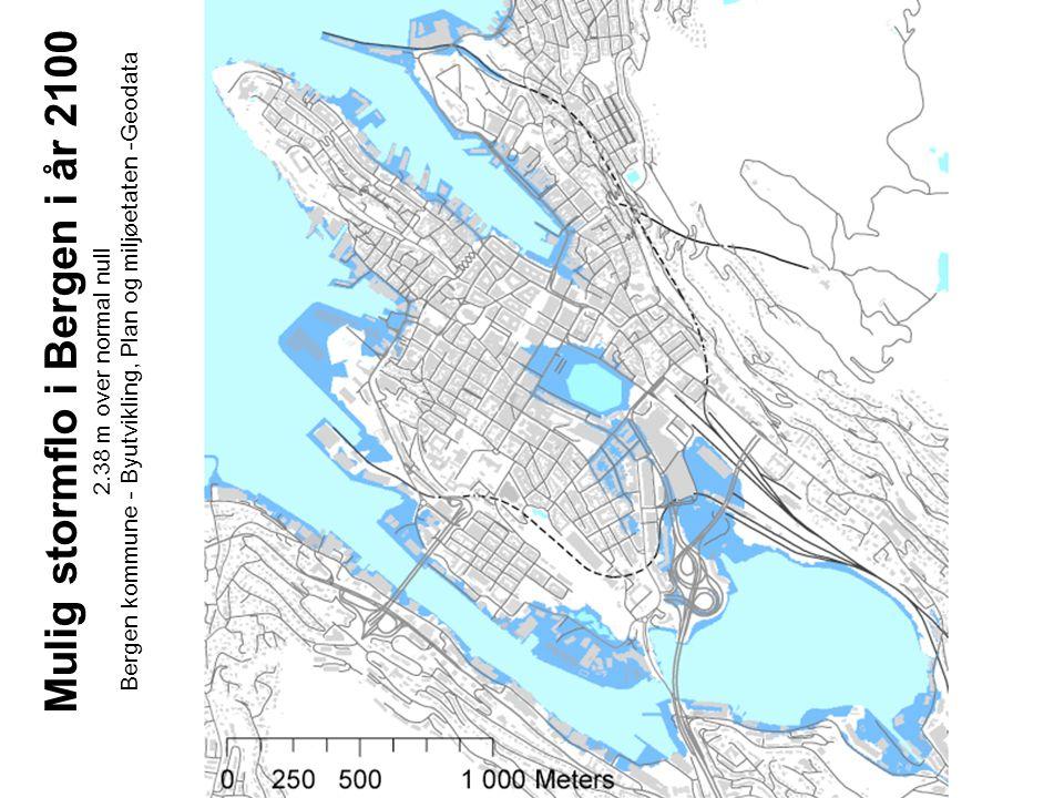 Mulig stormflo i Bergen i år 2100 2