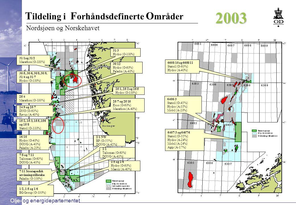 2003 Tildeling i Forhåndsdefinerte Områder Nordsjøen og Norskehavet