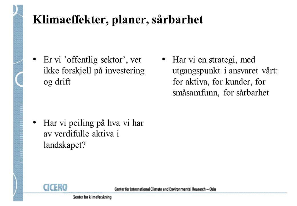 Klimaeffekter, planer, sårbarhet