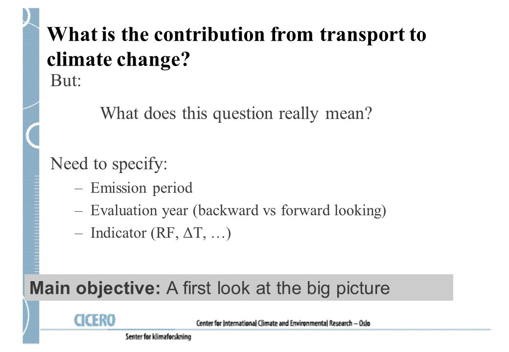 What is the contribution from transport to climate change
