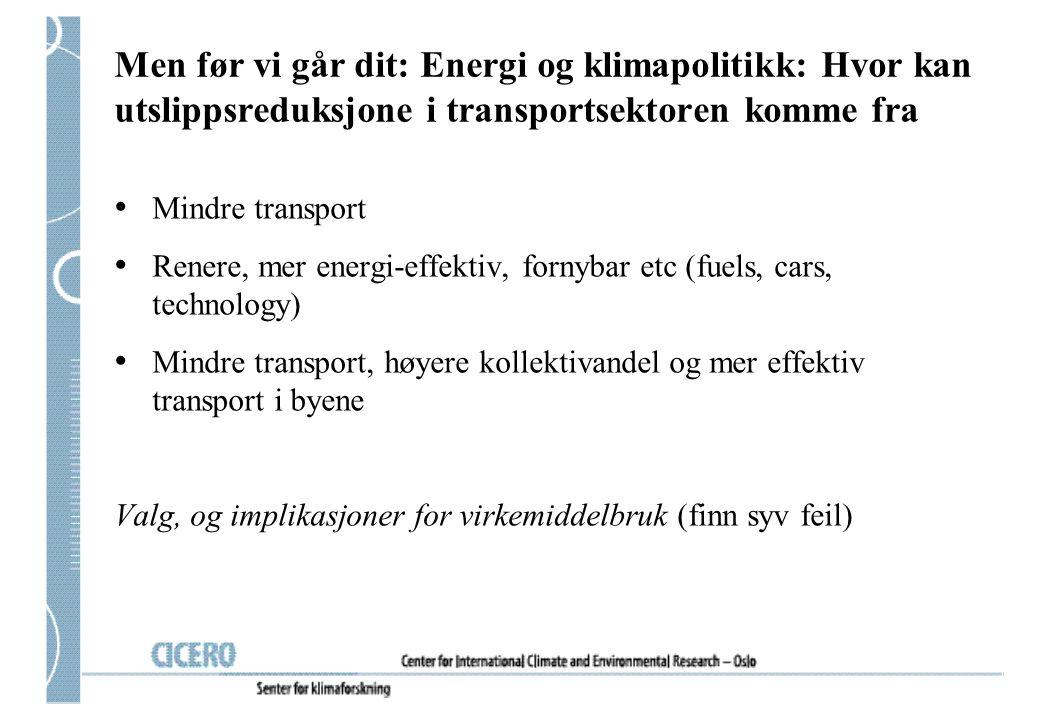 Men før vi går dit: Energi og klimapolitikk: Hvor kan utslippsreduksjone i transportsektoren komme fra