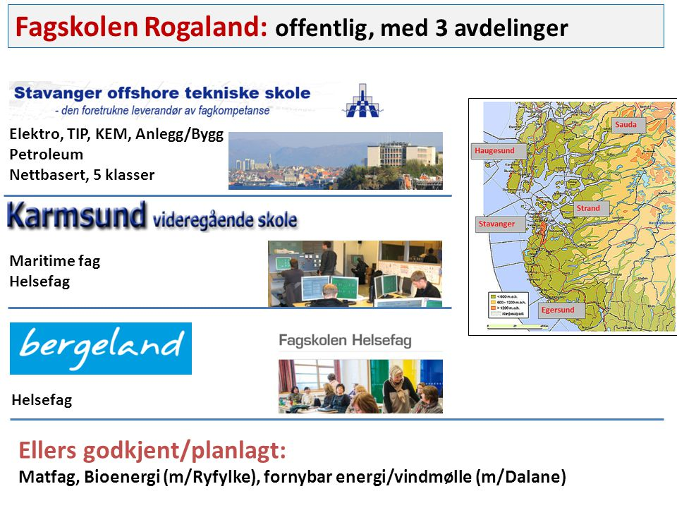 Fagskolen Rogaland: offentlig, med 3 avdelinger