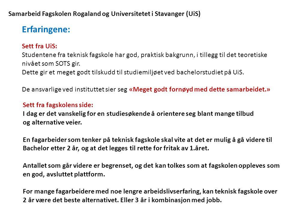 Samarbeid Fagskolen Rogaland og Universitetet i Stavanger (UiS)