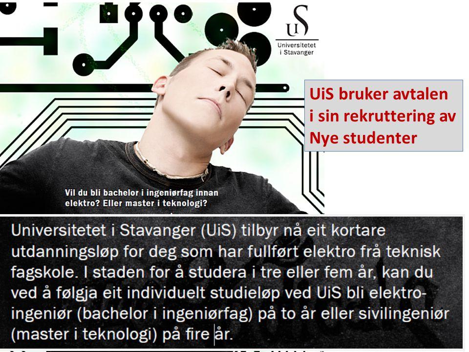 UiS bruker avtalen i sin rekruttering av Nye studenter