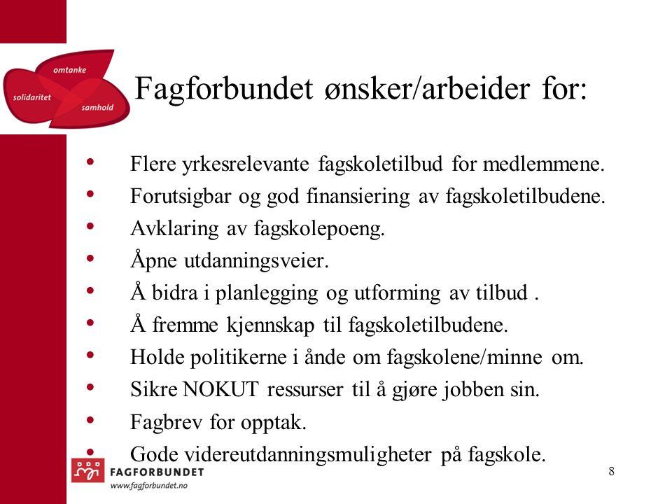 Fagforbundet ønsker/arbeider for: