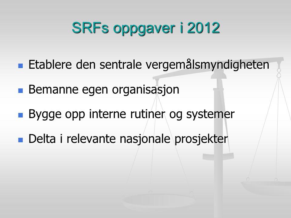 SRFs oppgaver i 2012 Etablere den sentrale vergemålsmyndigheten