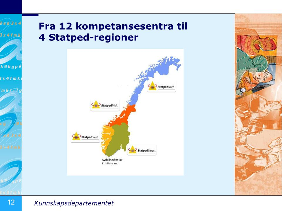 Fra 12 kompetansesentra til 4 Statped-regioner