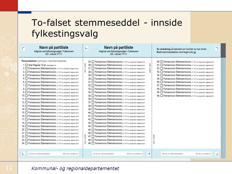 To-falset stemmeseddel - innside fylkestingsvalg