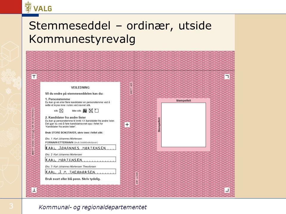 Stemmeseddel – ordinær, utside Kommunestyrevalg