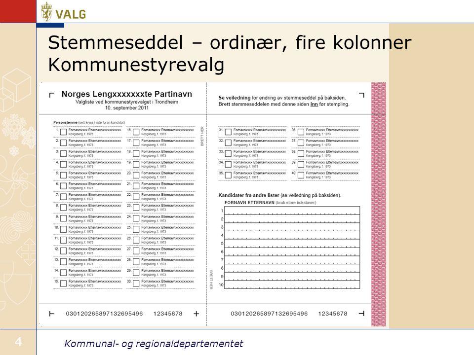 Stemmeseddel – ordinær, fire kolonner Kommunestyrevalg