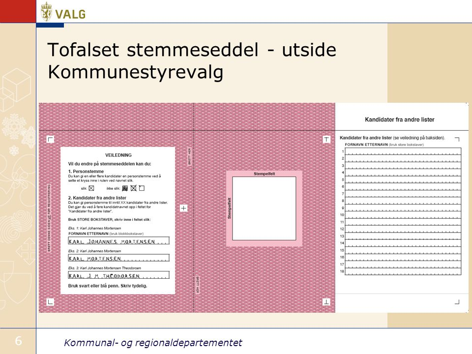 Tofalset stemmeseddel - utside Kommunestyrevalg